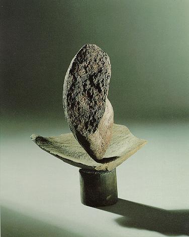"""""""Kleiner Kopf"""", Lava Granit, Eisen, 1988, 32 x 23 cm"""