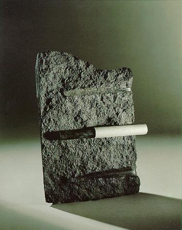 """""""Der Stahl im Fleisch"""", Diabas, Stahl, 1989, 38 x 28 cm"""