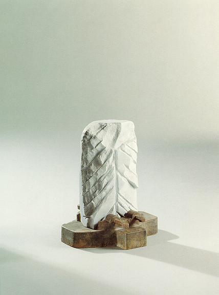 """Objekt"", weißer Marmor, Stahl, 1991, 35 cm"